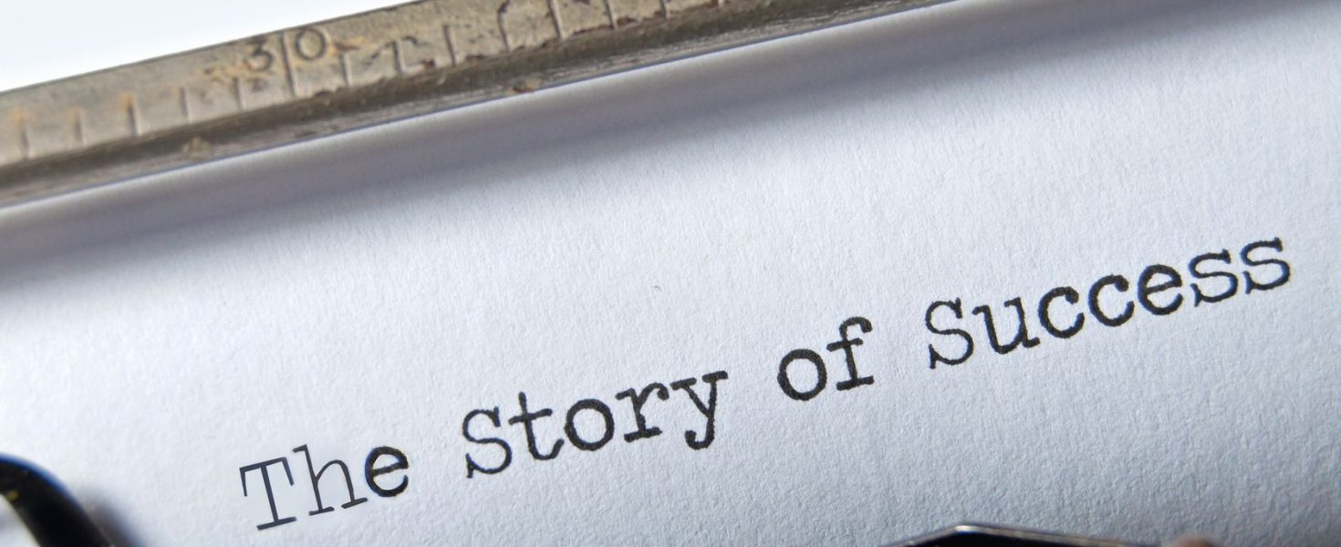 the story of success on an old typewriter